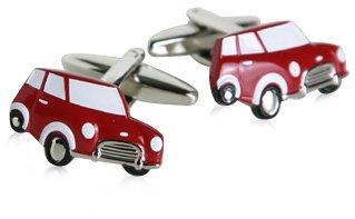 Gemelos con esmalte rojo Mr. Bean Mini Cooper Cuff Links