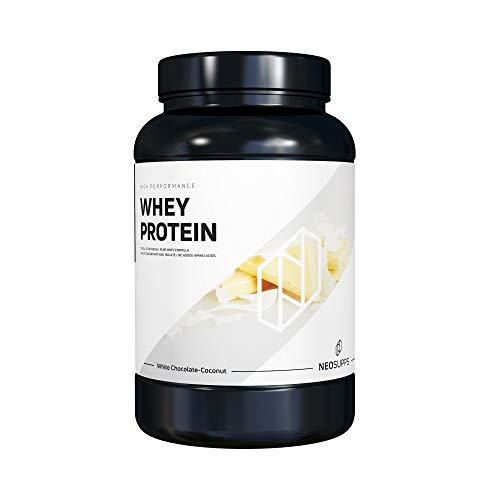 Premium Whey Protein für Muskelaufbau & Abnehmen in leckeren Geschmäckern | Low Carb Eiweiß-Shake, Eiweiß-Pulver mit Aminosäuren (BCAA) | 1kg NeoSupps Protein Pulver – Weiße Schokolade Kokosnuss