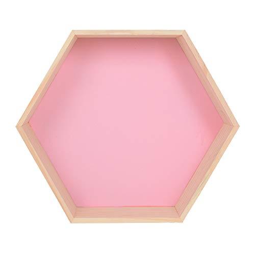 YANGMAN-BJ Hexagon Wandregale Holz schwimmendes Regal Dekorative Regale für Wohnzimmer Küche Flur, 20x17x8 cm,Rosa
