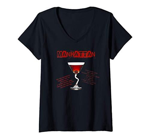 Donna Cocktail Manhattan con ricetta Maglietta con Collo a V