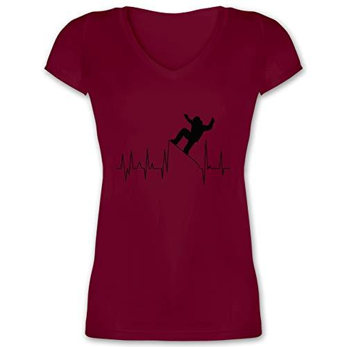 Après Ski - Snowboarding Herzschlag - schwarz - 3XL - Bordeauxrot - Winter - XO1525 - Damen T-Shirt mit V-Ausschnitt