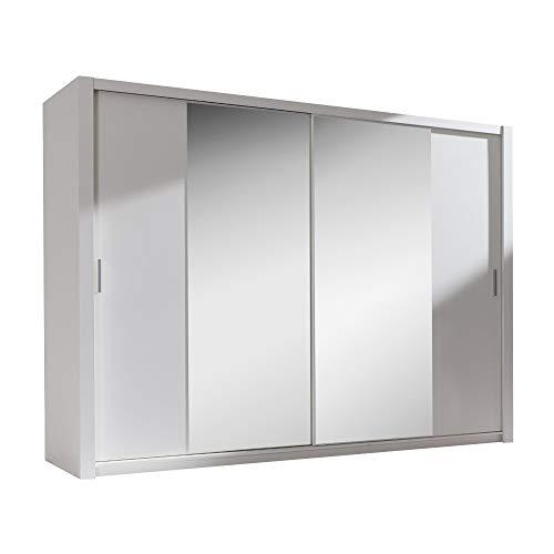 Selsey ORDU - Armoire Portes coulissantes (Blanc Miroir, 220 cm)