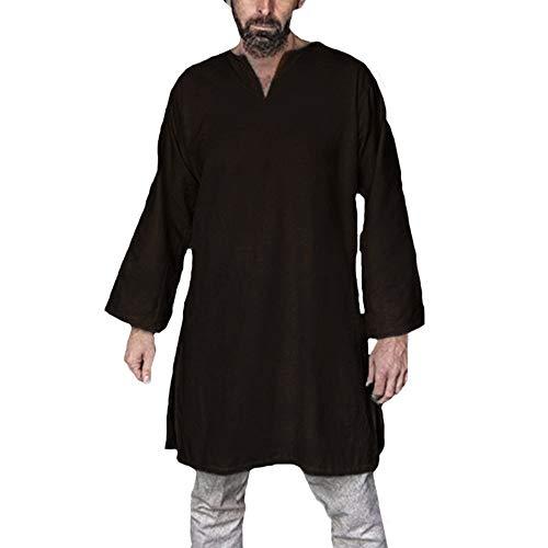 Heflashor Herren Mittelalter Untertunika mit V Ausschnitt Lange Ärmel Unterkleid Baumwolle