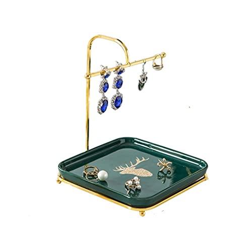 BIAOYU Soporte de exhibición de joyería con bandeja cuadrada – Organizador de joyería de escritorio para pendientes collares pulseras anillos mostrador organizador de joyas colgante