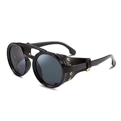 FEISEDY Retro Round Steampunk Sunglasses Women Men Vintage Eyewear Light Plastic Frame with Leatherwear B2532