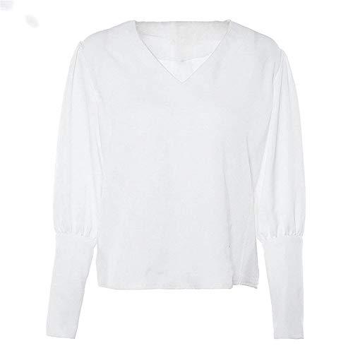 ZAJE Damen Bluse mit V-Ausschnitt, Puffärmel, Knopfleiste, weiße Bluse, Sommer,...