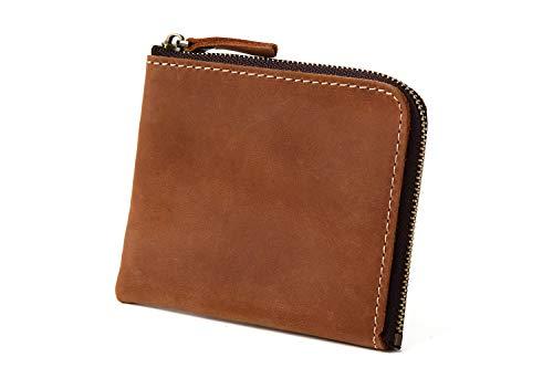 STCRAFT 薄い財布 L字ファスナー コンパクト なのに 大容量 メンズ レディース ギフトBOX付き (ブラウン)