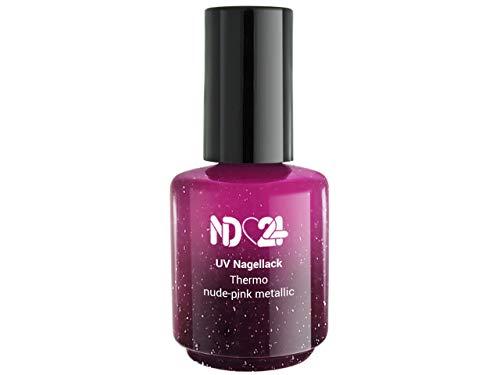 Uv/Led Effekt Nagellack Thermo Dark Nude-Pink Metallic - Studio Qualität - Made in Germany - 15ml