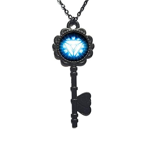 Collar con colgante unisex con colgante de cristal redondo de moda, collar largo de la llave, PU337