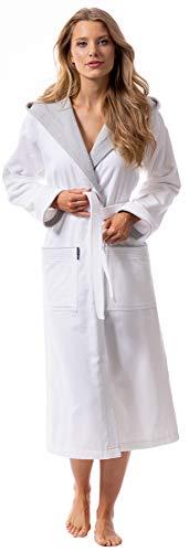 Morgenstern Bademantel für Damen aus Baumwolle mit Kapuze in Weiß Kapuzen Bademantel lang Baumwoll Bademantel Frottee Größe S Leonie