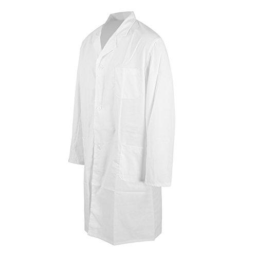MultiWare Laborkittel Herren Weiß Labor Medizin Kittel Mantel Herrenkittel Arztkittel L