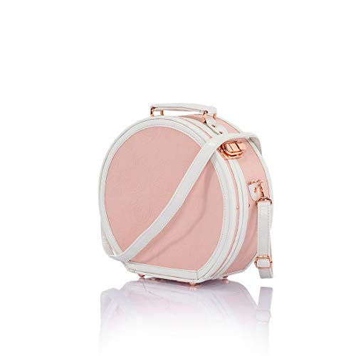 COTRUNKAGE Small Floral Round Hat Box Vintage Luggage Cosmetic Case (D.12', Pink Embossed)