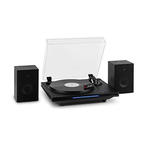 auna TT-Play Plus Plattenspieler Turntable, Stereolautsprecher: 20 Watt max, Bluetooth-Funktion, Status-LED, Geschwindigkeiten: 33/45 / 78 U/min, Riemenantrieb, schwarz