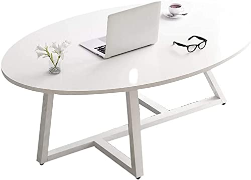Coffee Table KKY-ENTER Home Décor Furniture Home Small End Tables Simple Oval Shaped Accent Table for Living Room Office,100 x 50 x 45 cm,Metal Legs Living Room or Lounge