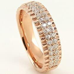 [ジュエリーアイ]Jewelry i 指輪 18金 ダイヤモンドリング パヴェ 段差 ピンクゴールドK18 ピンキーリング ギフト 8号