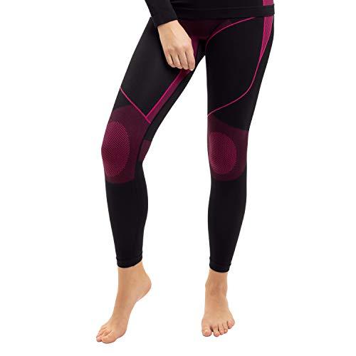 Gomati Damen Thermo Unterhose Seamless Funktionswäsche schnelltrocknend - Pink L-XL