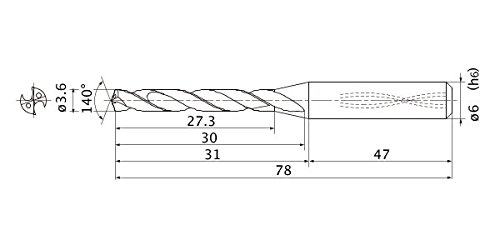 Mitsubishi Materials MMS0360X5DB MMS Solid Carbide Drill, Internal Coolant, 5 Hole Depth, 3.6 mm Cutting Diameter, 0.7 mm Point Length, 6 mm Shank Diameter