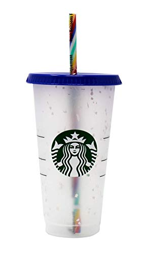 Color Changing Confetti Cup and Rainbow Straw Pride Summer 2020 Reusable