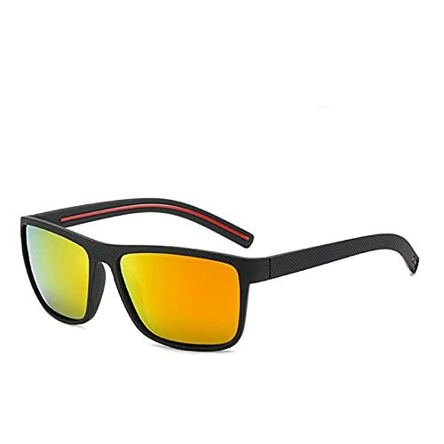 ASZX Gafas de Sol polarizadas Hombres PC Moda Moda Cuadrado Gafas de conducción Viajes Deportes Gafas de Sol polarizadas 713 (Lenses Color : C3, Size : One Size)