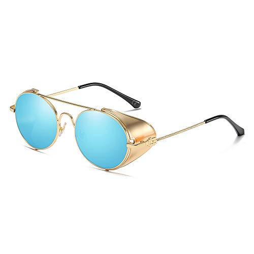 AMZTM Gafas de Sol Steampunk Estilo Retro con Círculo Metálico Redondo - Gafas de Montura Metálica con Protección Lateral y...