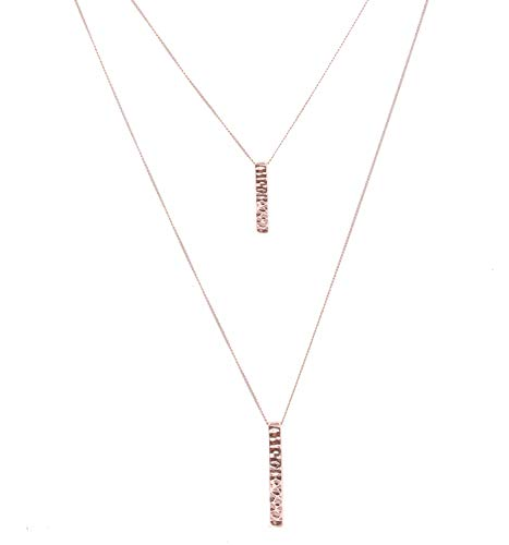 JYJ Women's Layered Long Necklace 2 Layers Hammered Bar Pendant Necklace Multilayer Choker Strands (Rose Gold)