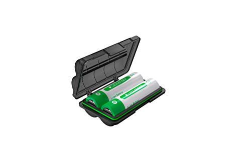 Ledlenser Batterybox7 - robuste und wasserresistente Box zur sicheren Lagerung und Transport von Akkus - ideale Ergänzung für alle Outdoor-Aktivitäten - inkl. 2 Akkus