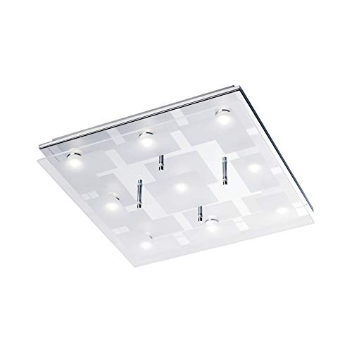 LED plafondlamp woonkamer plafondlamp vierkant vloerlamp glas (woonkamerlamp, plafondspot, 35 cm, 9 x 3,3 Watt, warm wit)
