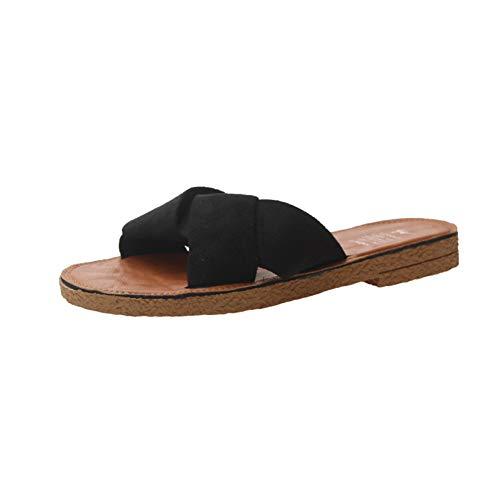 [MaxWant] サンダル フラットサンダル ビーチサンダル スリッパ レディース 夏 ペタンコ ローヒール 歩きやすい 痛くない かわいい (23.5cm, ブラック)