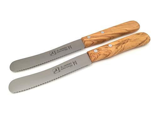 H. Herder 2 Solingen Buckelsmesser Frühstücksmesser 22cm Wellenschliff - 1,5mm stark rostfrei Olive