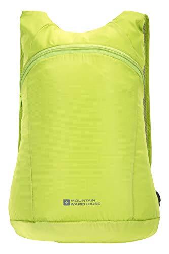 Mountain Warehouse Packaway Rucksack - Leichter Rucksack, kompakter Stauraum, wasserfeste Tasche, versiegelte Nähte, leicht zu Falten - Für Reisen, Einkaufen und Alltag Limette Einheitsgröße