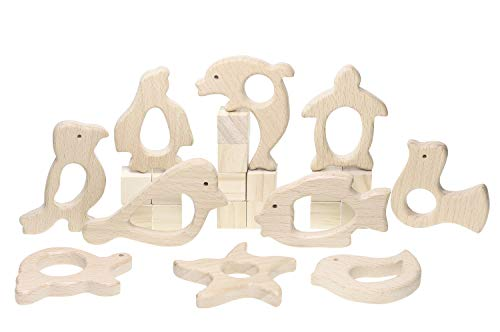 Penta Angel 10Pcs Wood Teething Rings Pain Relief Natural Wood Teething Toys Wooden Teether Animals for Infant Toddler, Turtles Swallows Dolphins Starfish Pigeons Birds Woodpeckers Fish Turtle(A)