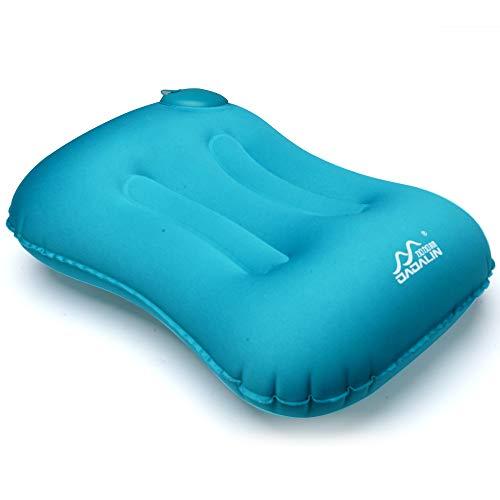 Cuscino da viaggio gonfiabile ultraleggero da campeggio Cuscini di gonfiaggio compatti, confortevoli, comprimibili ed ergonomici per collo e supporto lombare mentre si accampa, zaino in spalla