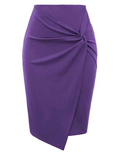 Kate Kasin Wear to Work Pencil Skirts for Women Elastic High Waist Wrap Front Purple, Large