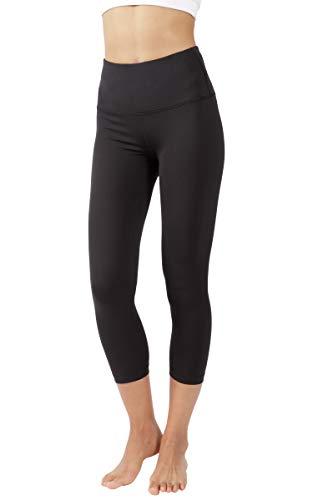 Yogalicious High Waist Ultra Soft Lightweight Capris - High Rise Yoga Pants - Black Lux - Medium