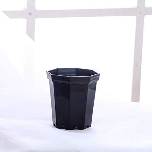 DOROCH 4 Piezas Moderno plástico octágono Maceta Olla casa jardín Escritorio Oficina suculento Planta Mate Mate Brillante jardín decoración macetas (Color : Black, Sheet Size : 6.8x4.8x7.4cm)