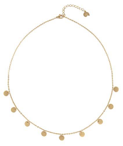 Happiness Boutique Damas Collar de Multi Círculos en Color Oro | Collar con Colgantes de Disco Redondo