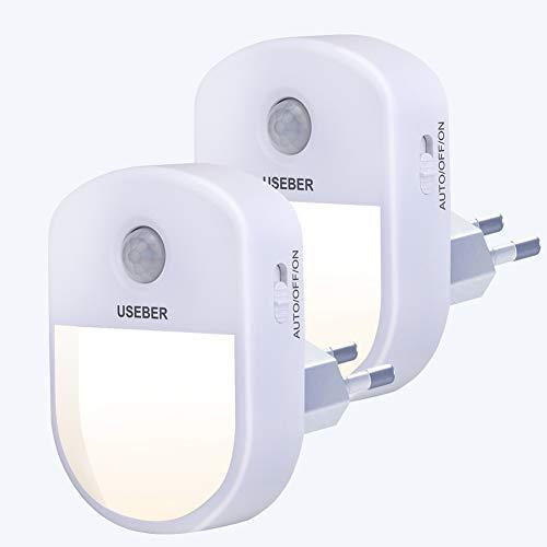 Nachtlicht Steckdose mit Bewegungsmelder, Useber 2 Stück Steckdosenlicht 3 Modi (Auto/ON/OFF) 0,5 W Energiesparendes LED-Nachtlicht, Schlafzimmer,Kinderzimmer, Flur,Küche