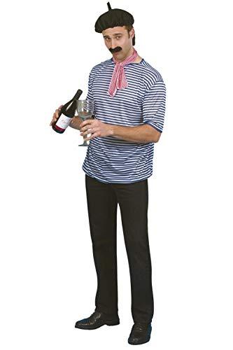 Smiffys Franzosen Kostüm Set Baskenmütze Shirt Tuch Bart, Größe M