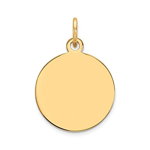 14k Yellow Gold .011 Gauge Circular Engravable Disc Pendant Charm Necklace Round Plain Fine Jewelry For Women Gifts For Her 10k Gold Medical Pendant