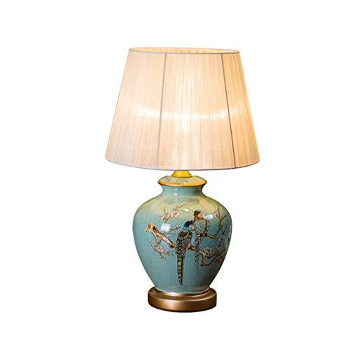 SACYSAC Keramik Tischlampe Schlafzimmer Nachttischlampe Retro gemalten Blumen und Vögel dekorative Gartenlampen