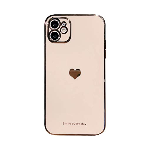 Electroplated Love Heart Phone Case For iPhone 12 Pro 11 Pro Max XR X XS Max 7 8 Plus Soft Silicone Camera Protective Back Cover (For iPhone 12Pro Max)