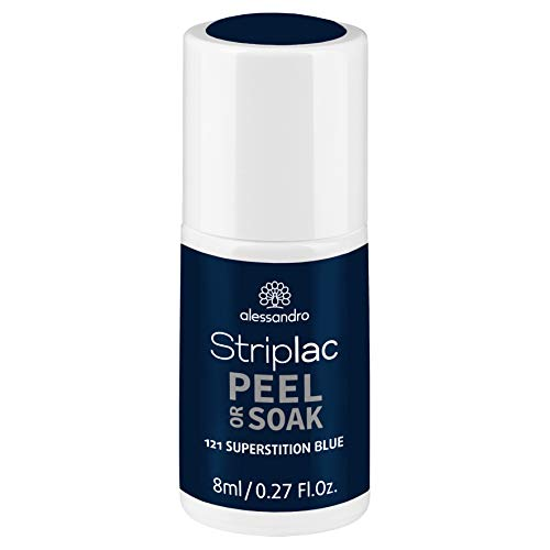 alessandro Striplac Peel or Soak Superstition Blue – LED-Nagellack in dunklem Blau – Für perfekte Nägel in 15 Minuten – 1 x 8ml