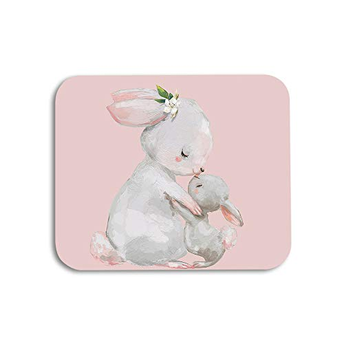 AOYEGO Rabbit Mouse Pad Cute Animal Hare Mom with Little Bunny with Flower Leaves Gaming Mousepad Rubber Large Pad Non-Slip for Computer Laptop Office Work Desk 9.5x7.9 Inch Grey