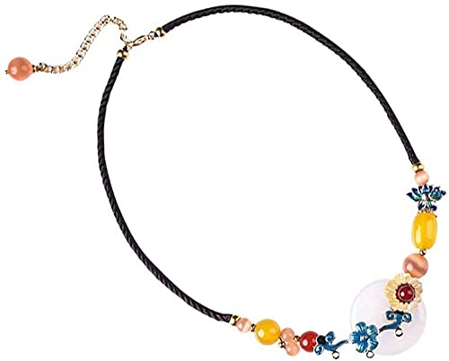 PPQKKYD Collar Moda Retro Exquisito Hermoso Collar Colgante Estilo étnico ágata Artificial Piedra semipreciosa