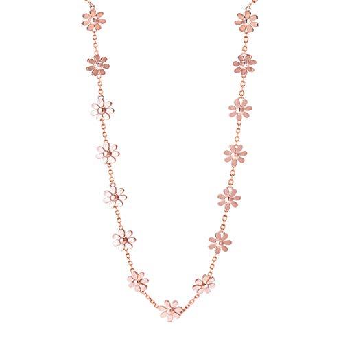 SHEGRACE Damen Daisy Choker in Kupfer Rose Gold Plattiert Kragen Halskette, Verstellbar, 370 + 80mm