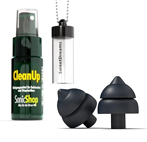 SweetDreams - Ohrstöpsel zum Schlafen, extraweich – gegen Schnarchen – Hörschutz - wiederverwendbarer Gehörschutz für nachts – Gehörschutzstöpsel - Set inklusive Reinigungsspray & Case