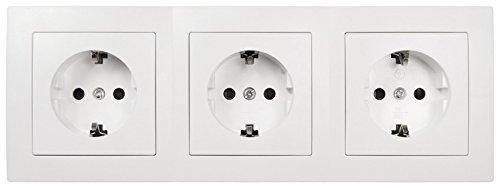MC POWER - FLAIR - Wand Steckdosen Set | Beginner 3S | 4-teilig | weiß, matt