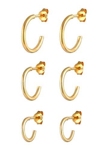 Elli Ohrringe Damen Creolen Stecker 3er Set Basic Trend aus 925 Sterling Silber