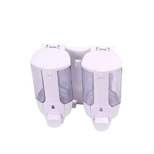 LHQ-HQ Dispensador de jabón, de pared PC Bomba transparente desinfectante de la mano de ducha del champú del gel de la botella de jabón caja, cocina baño, 350ml * 2 dispensador de jabón (Color: Blanco