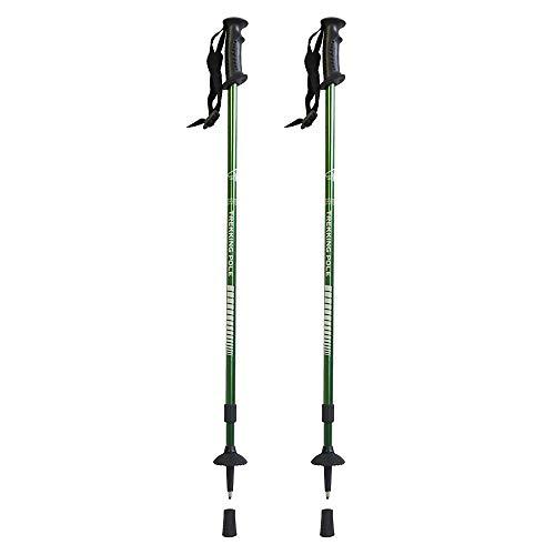 Hosa - Pack 2 Bastones de Senderismo Telescopicos 2 Tramos Extensibles Verdes - Par Bastones Trekking Plegables de Aluminio 7075 Resistente y Ligero - Ultraligeros para Montaña, Excursion y Alpinismo
